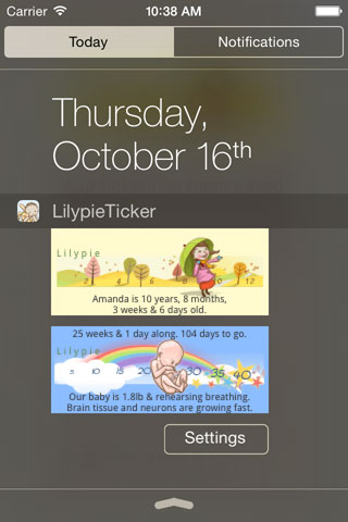 Lilypie App today extension